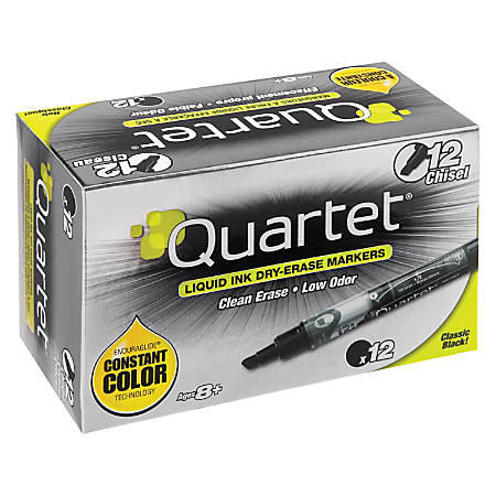 Quartet® EnduraGlide® Dry-Erase Markers, Chisel, Black, Pack Of 12