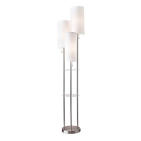 "Adesso® Trio Floor Lamp, 68""H, White Shade/Steel Base"