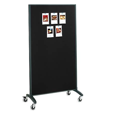 """Quartet® Motion 2-Sided Dry-Erase/Bulletin Board Rolling Room Divider, 36"""" x 72"""", White Board, Black Frame"""