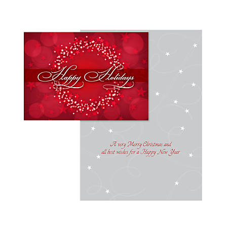 """Custom Embellished Holiday Cards And Foil Envelopes, 7-1/4"""" x 5-1/8"""", Red Starry Wreath, Box Of 25 Cards"""