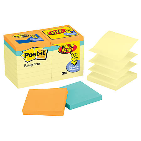 "Post it® Pop up Notes, 3"" x 3"", Canary Yellow, Pack Of 18 Pads"