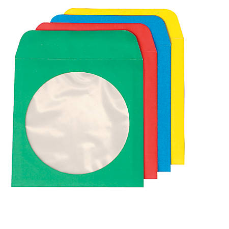 """Quality Park CD/DVD Sleeves, 4 7/8"""" x 5"""", Assorted Colors, Box Of 50"""