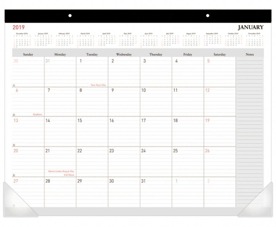 Office Depot Brand Monthly Desk Pad Calendar 22 X 17 White January