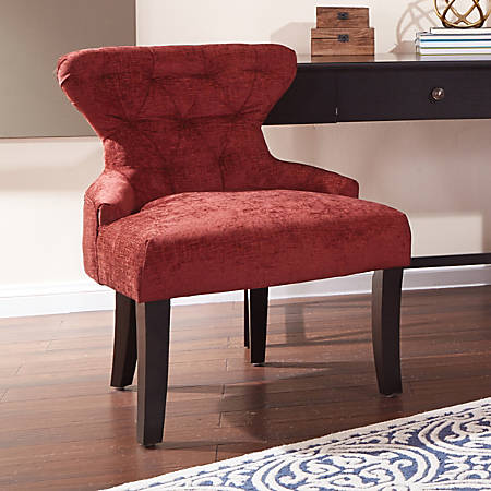 Ave Six Curves Hourglass Accent Chair, Walker Cranapple/Dark Espresso