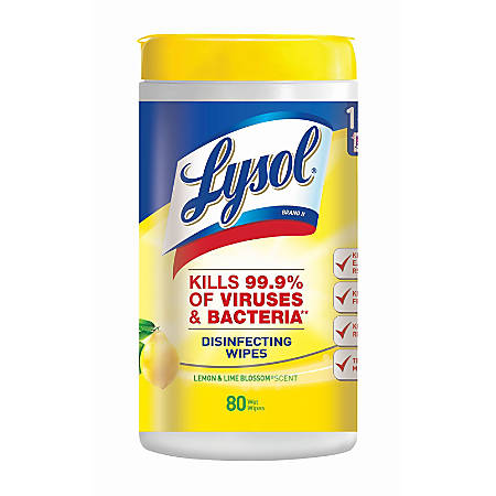 Lysol® Disinfecting Wipes, Lemon & Lime Blossom Scent, 80 Sheets Per Tub, Box Of 6