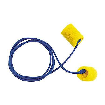 EAR Classic Earplugs, Corded, PVC Foam, Yellow, 200 Pairs/Box