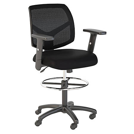 Bush Business Furniture Petite Mesh Back Drafting Chair with Chrome Foot Ring, Black, Premium Installation
