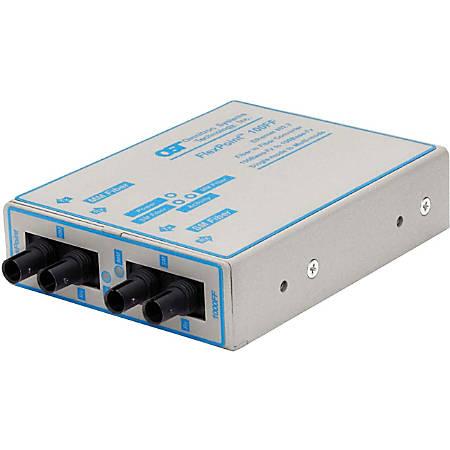 FlexPoint 100Mbps Ethernet Fiber to Fiber Media Converter ST Multimode 5km to Single-Mode 60km - 1 x 100BASE-FX; 1 x 100BASE-LX; US AC Powered; Lifetime Warranty