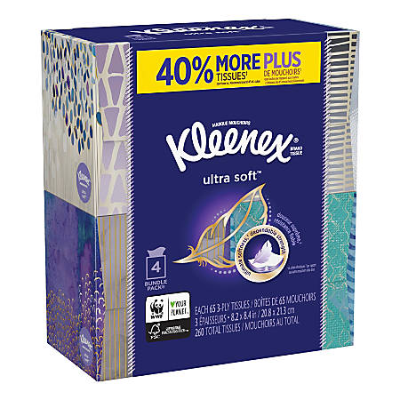 Kleenex® Ultra Soft 3-Ply Facial Tissues, White, 65 Tissues Per Box, Pack Of 4 Boxes