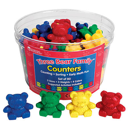 Learning Resources® Three Bear Family® Counters Basic Set, Age 3-12, Pack Of 80