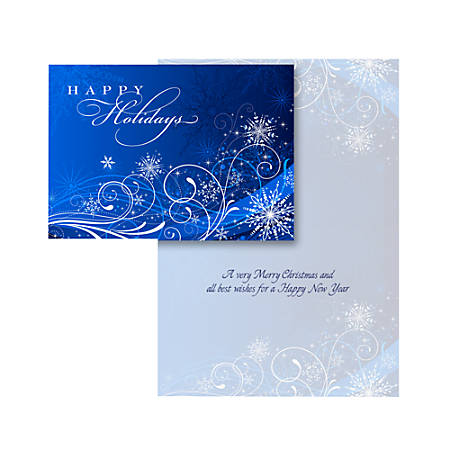 """Custom Embellished Holiday Cards And Foil Envelopes, 7-1/4"""" x 5-1/8"""", Snowflakes, Box Of 25 Cards"""