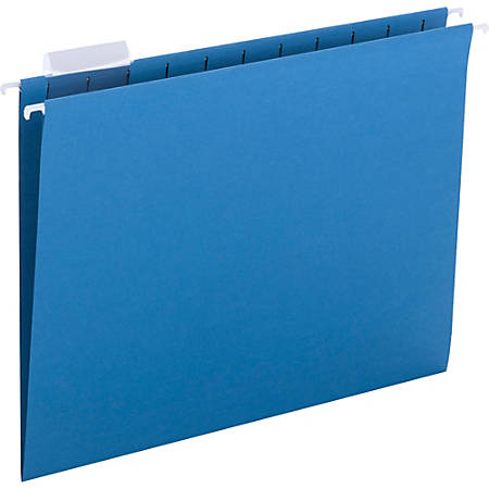 "Smead Colored Hanging Folders with Tabs - Letter - 8 1/2"" x 11"" Sheet Size - 1/5 Tab Cut - Assorted Position Tab Location - Sky Blue - Recycled - 25 / Box"