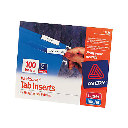 """Avery® Printable Tab Inserts For Hanging File Folders, 1/5 Cut For 2"""" Tabs, White, Box Of 100"""