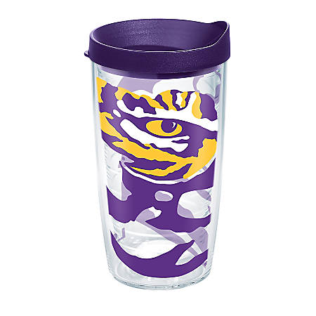 Tervis Genuine NCAA Tumbler With Lid, LSU Tigers, 16 Oz, Clear
