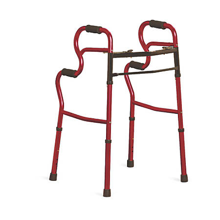 Medline Adult Stand-Assist 2-Button Folding Walkers, Red, Case Of 2