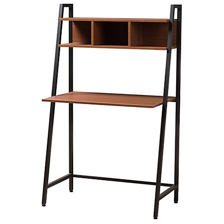 Baxton Studio 3 Shelf Writing Desk Brown Black Item 6449530
