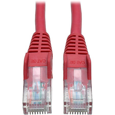 Tripp Lite 5ft Cat5e / Cat5 Snagless Molded Patch Cable RJ45 M/M Red 5' - 5 ft Category 5e Network Cable for Network Device - First End: 1 x RJ-45 Male Network - Second End: 1 x RJ-45 Male Network - Patch Cable - Red