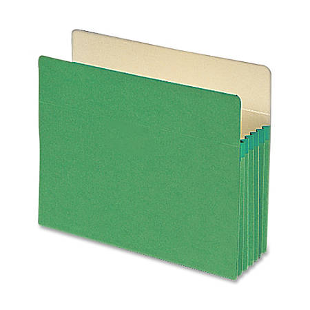 """Smead® Color Top-Tab File Pockets, Letter Size, 5 1/4"""" Expansion, Green"""