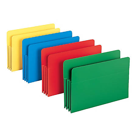 "Smead® Poly Expanding File Pockets, Legal Size, 3 1/2"" Expansion, Assorted Colors (No Color Choice), Pack Of 4"