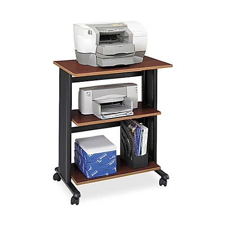 "Safco® Muv™ Three Level Adjustable Printer Stand, 35""H x 29 1/2""W x 20""D, Cherry/Black"