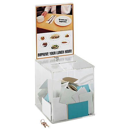 """Safco® Large Acrylic Collection Box, 21 1/2""""H x 9 1/4""""W x 9 1/4""""D, Clear"""