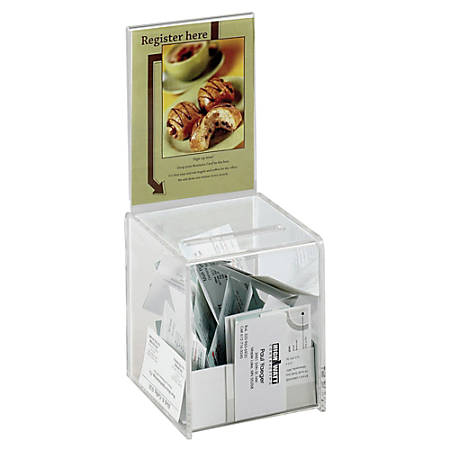 "Safco® Small Acrylic Collection Box, 13""H x 5 1/2""W x 5 1/2""D, Clear"