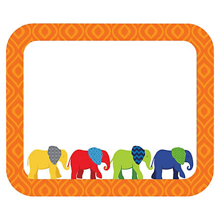 """Carson-Dellosa Parade of Elephants Colorful Name Tags, CDP150045, 3""""W x 2 1/2""""L, Rectangle, Multicolor, Pack Of 40"""