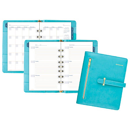"AT-A-GLANCE® Faux Leather Fashion Starter Set, 5 1/2"" x 8 1/2"", Teal"