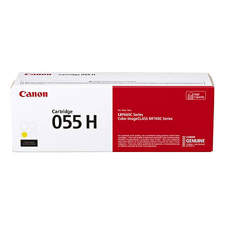 Canon CRG 055H High-Yield Toner Cartridge, Yellow, 3017C001