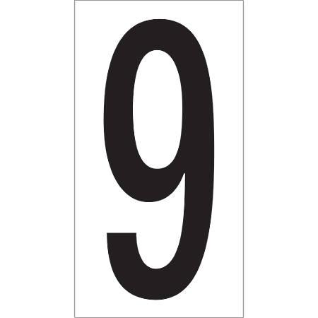 "Office Depot® Brand Vinyl Warehouse Labels, DL9309, Number 9, 3 1/2"", Black/White, Case Of 50"