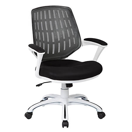 Office Star™ Avenue Six® Calvin Mesh Mid-Back Chair, Black/White