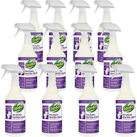 OdoBan Eucalyptus BioOdor Digester Spray - Ready-To-Use Spray - 0.25 gal (32 fl oz) - Lavender Scent - 12 / Carton - Purple