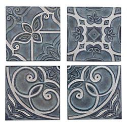 """Zuo Modern Wall Décor Tiles, 25 1/4""""H x 25 1/4""""W x 1""""D, Blue, Set Of 4 Tiles"""