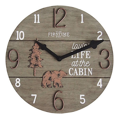FirsTime & Co.® Cabin Life Wall Clock, Distressed Brown