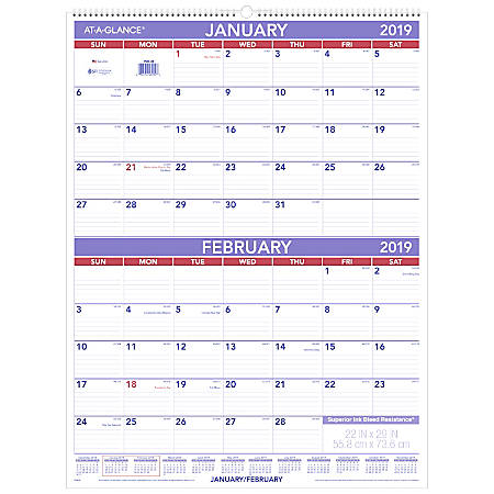 """AT-A-GLANCE® 2-Month Wall Calendar, 29"""" x 22"""", White, January to December 2019"""
