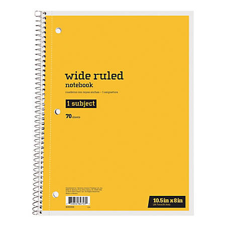 """Just Basics™ Spiral Notebook, 8"""" x 10-1/2"""", 1 Subject, Wide Ruled, 70 Sheets, Yellow"""