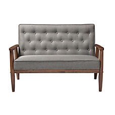 Baxton Studio Noel Fabric Loveseat GrayDark