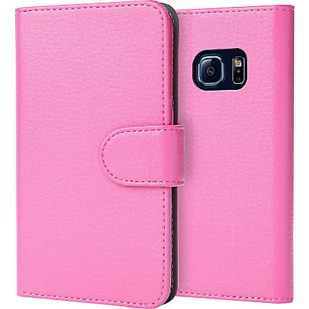 i-Blason Leather Carrying Case (Wallet) Smartphone - Pink - Scratch Resistant - Synthetic Leather