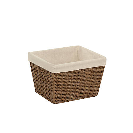 """Honey-Can-Do Paper Rope Storage Tote With Liner, 10"""" x 12"""" x 8"""", Brown"""