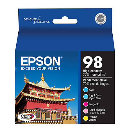 Epson® 98, (T098920) Claria® Hi-Definition High-Capacity Color Ink Cartridges, Pack Of 5