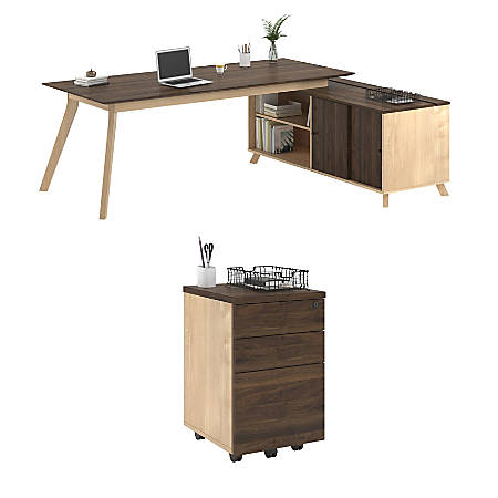 Ameriwood™ Home AX1 3-Piece L-Shape Desk And Mobile File Set, Walnut