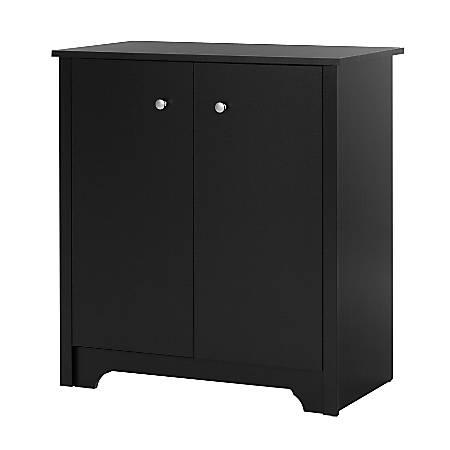 South Shore Vito Small 2-Door Storage Cabinet, Pure Black