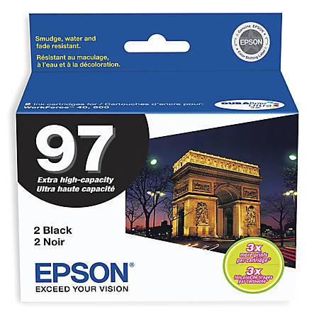 Epson® 97, (T097120-D2) DuraBrite® Ultra High-Capacity Black Ink Cartridges, Pack Of 2