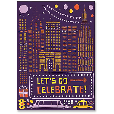 """Viabella Birthday Greeting Card With Envelope, Let's Go Celebrate, 5"""" x 7"""""""