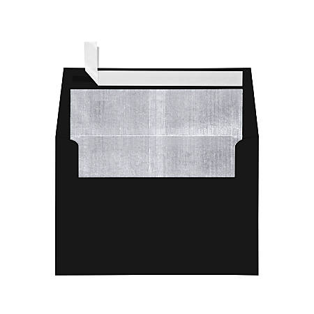 """LUX Foil-Lined Invitation Envelopes With Peel & Press Closure, A4, 4 1/4"""" x 6 1/4"""", Black/Silver, Pack Of 500"""