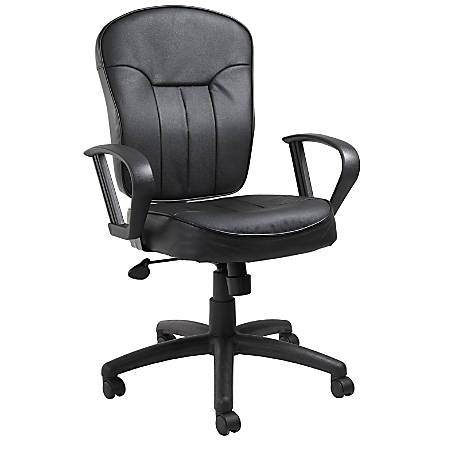 Boss Faux Leather Mid-Back Task Chair, Black/Black