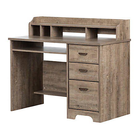 "South Shore Versa 45""W Computer Desk With Hutch, Weathered Oak"