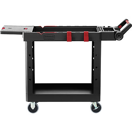 """Rubbermaid Commercial Heavy Duty Adaptable Utility Cart - Push/Pull Handle - 520 lb Capacity - 4 Casters - 4"""" Caster Size - Plywood, Foam - 46.2"""" Length x 17.8"""" Width x 36"""" Height - Black"""