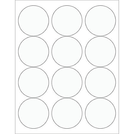 "Office Depot® Brand Circle Laser Labels, LL232CL, 2 1/2"", Clear, 12 Labels Per Sheet, Case Of 100 Sheets"