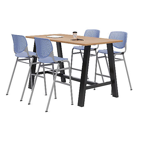 """KFI Midtown Bistro Table With 4 Stacking Chairs, 41""""H x 36""""W x 72""""D, Kensington Maple/Peri Blue"""
